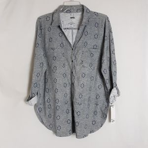 Sonoma Women's Size Large Gray Button Front Shirt